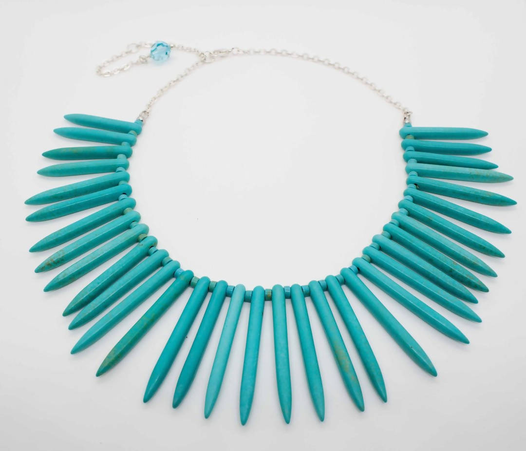 turquoise bib statement necklace