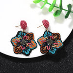Fabric Cloth Flower beads earrings