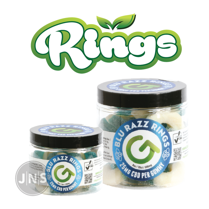 CBD Gummy Blue Raspberry Rings | 250mg - 500mg