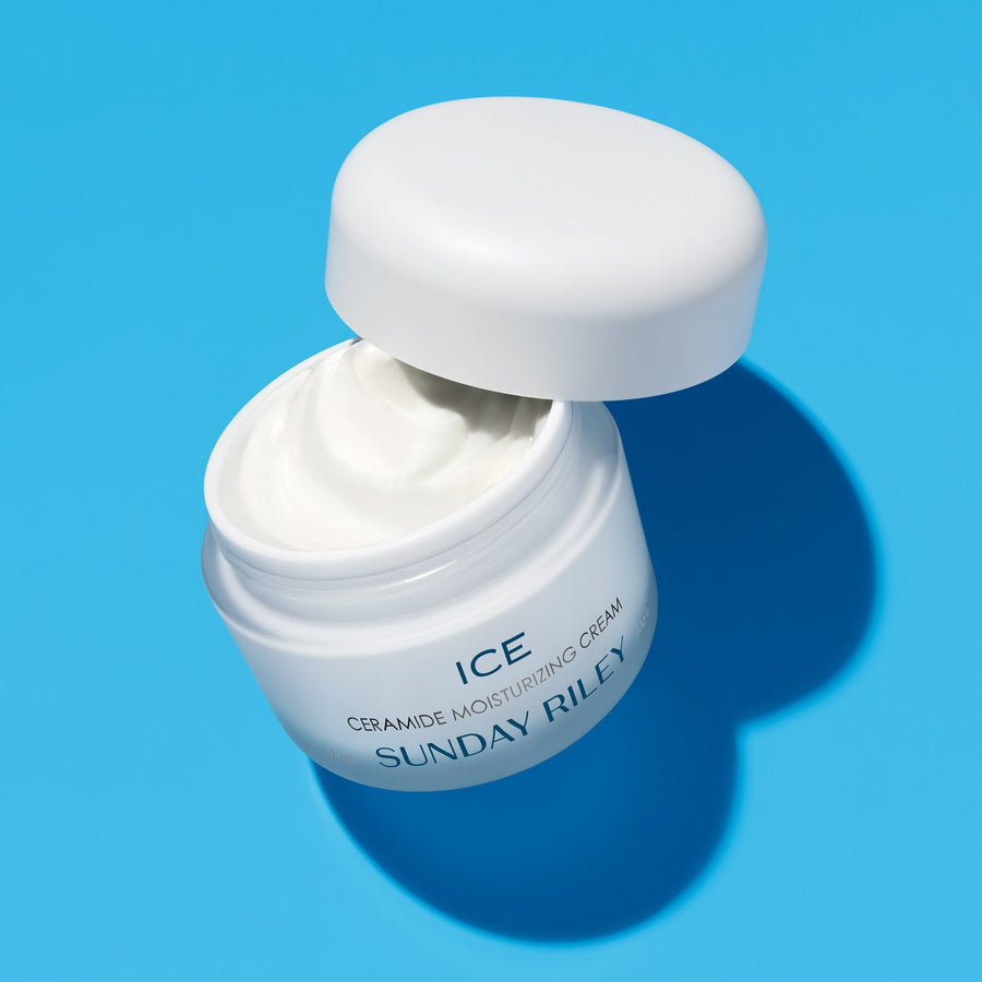 Ice Ceramide Moisturizing Cream, packaged in white frosted glass jar with white lid  Edit alt text