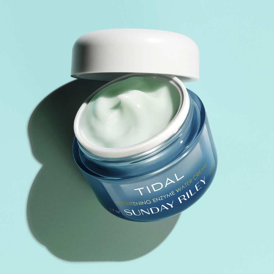 Tidal Brightening Cream, dark blue jar with white cap