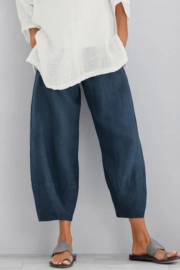 Solid Casual Side Pockets Pants-BOTTOMS-Modabae