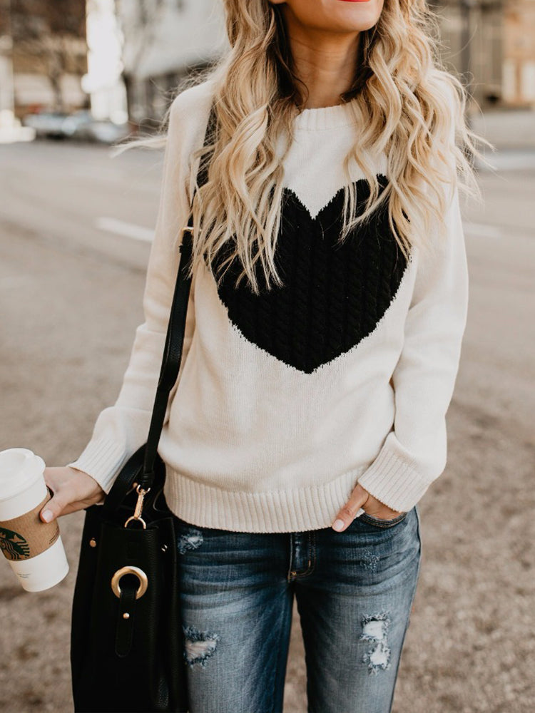 Oversized Heart Pattern Sweater-tops-Modabae