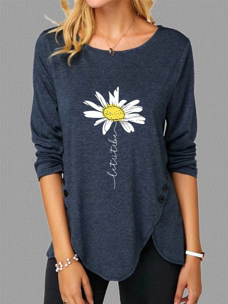 Side Button Daisy Flower Print T-shirt-Tops>T-shirts>Casual-Modabae