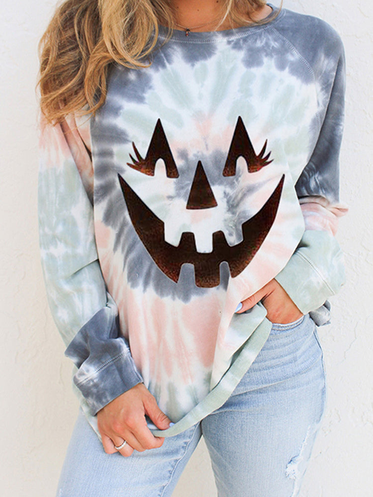 Halloween Print Long Sleeve Pullover Loose Sweatshirt-tops-Modabae