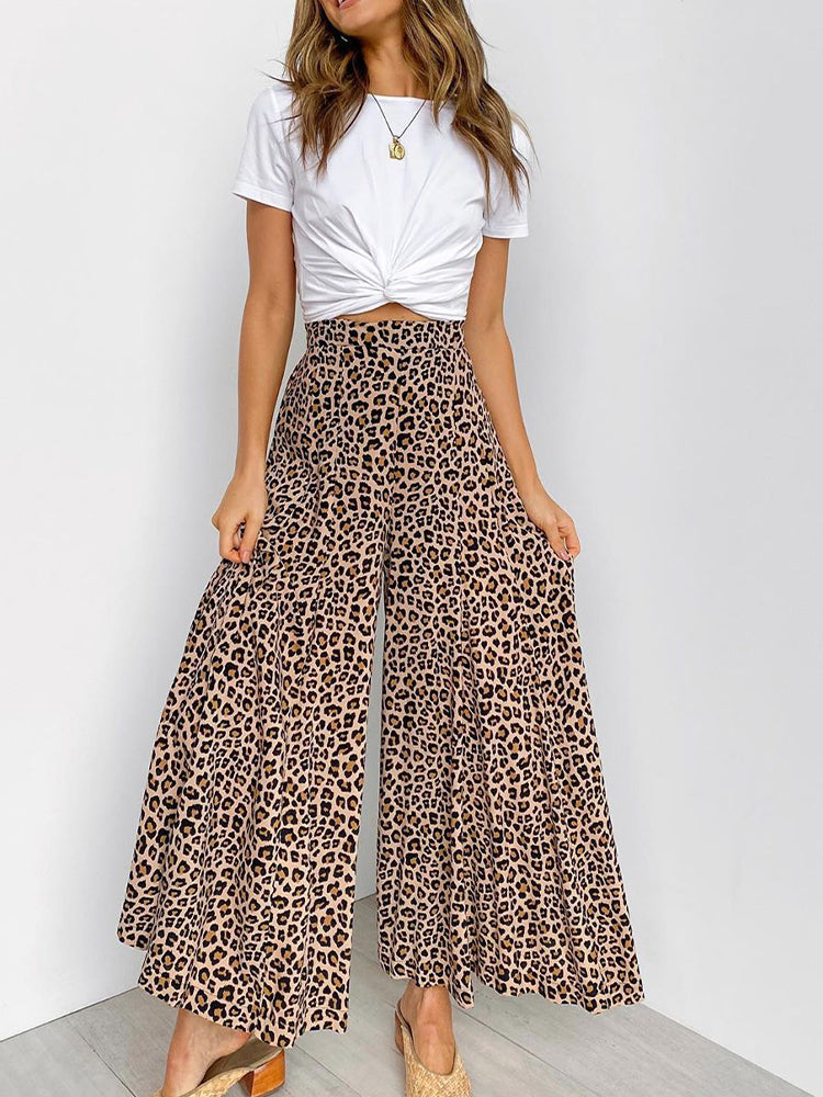 Leopard Print High Waist Loose Trousers-Bottoms>Pants>Fashion-Modabae