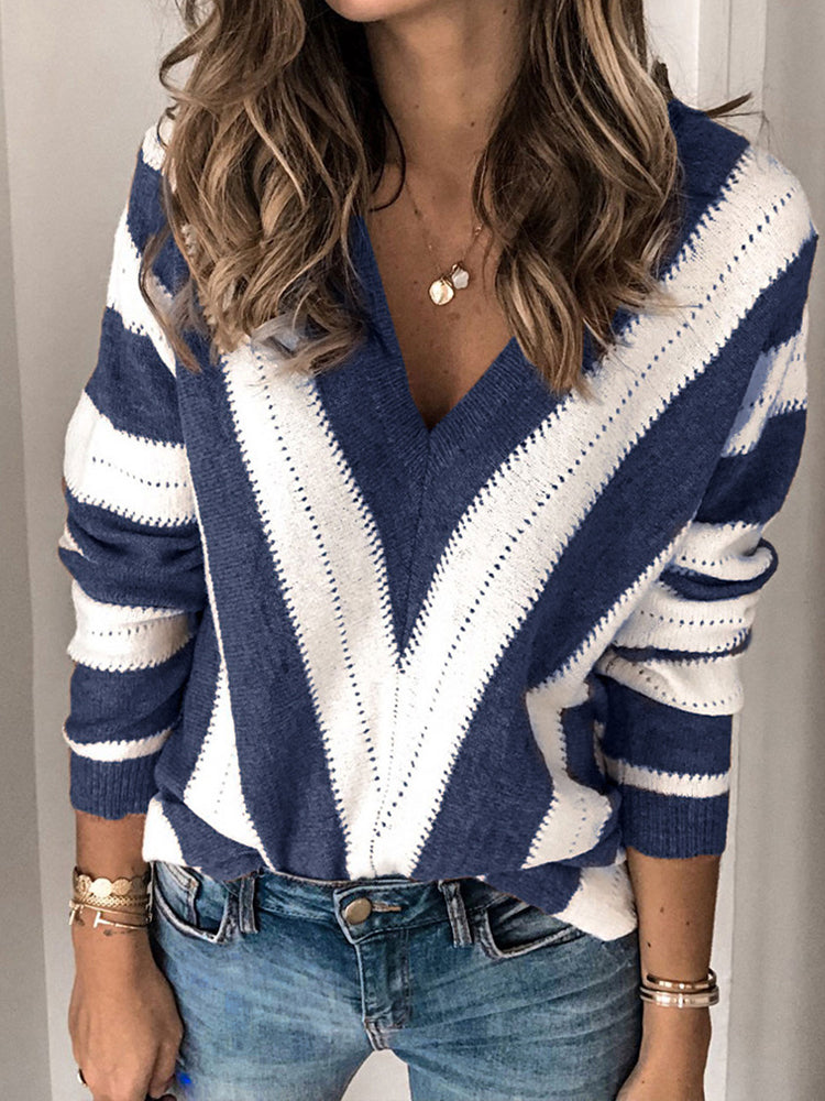 Striped Sexy V-neck Sweater-tops-Modabae