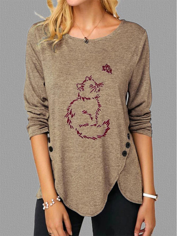 Side Button Cat Butterfly Print T-shirt-Tops>T-shirts>Casual-Modabae