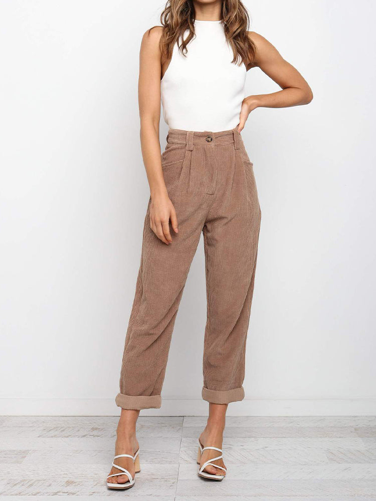 Corduroy Slim Low-rise Wide-leg Pants-Bottoms>Pants>Casual-Modabae