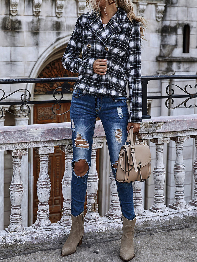 Double-breasted Large Lapel Short Plaid Jacket-Tops>Coats>Fashion-Modabae