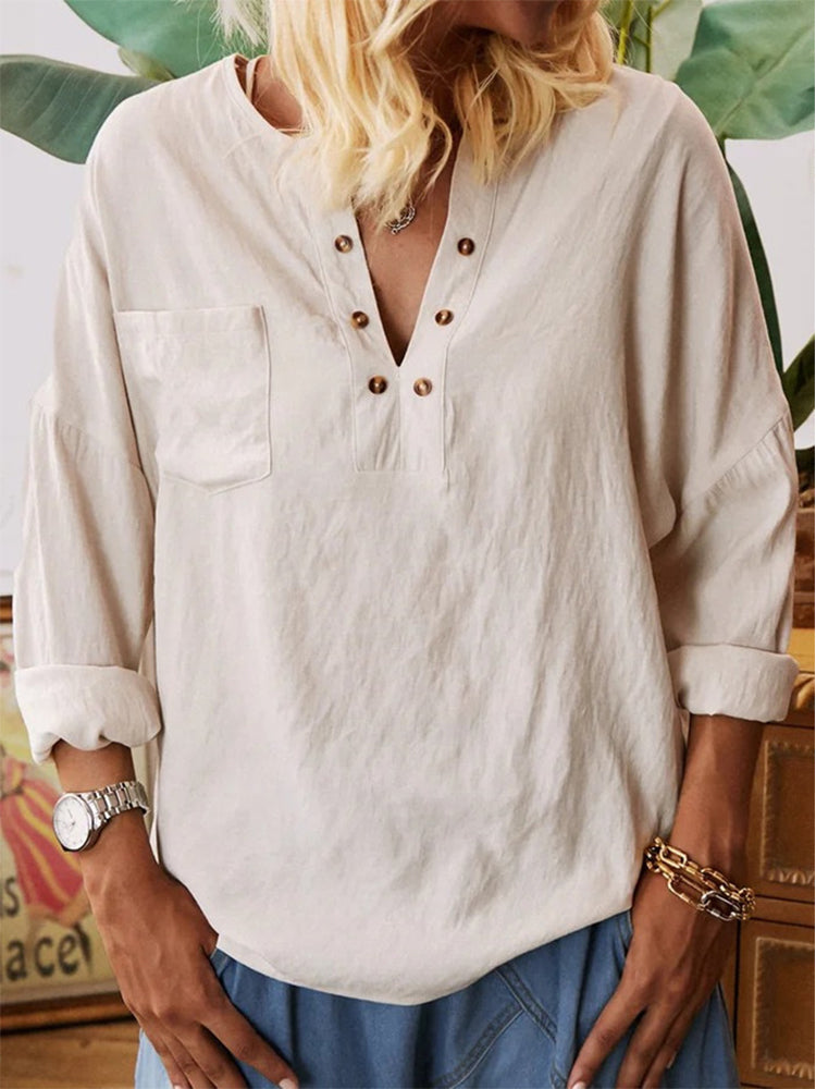Solid Color Long Sleeve Shirt-tops-Modabae