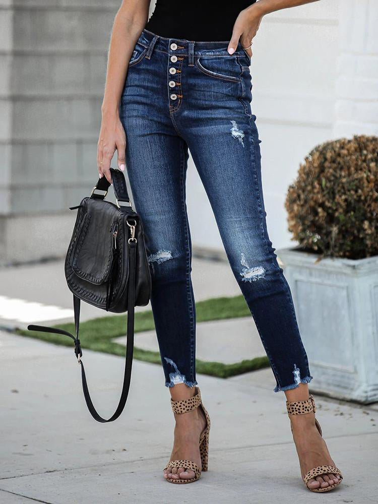High-rise Vintage Ripped Breasted Small-leg Jeans-Bottoms>Jeans>Fashion-Modabae