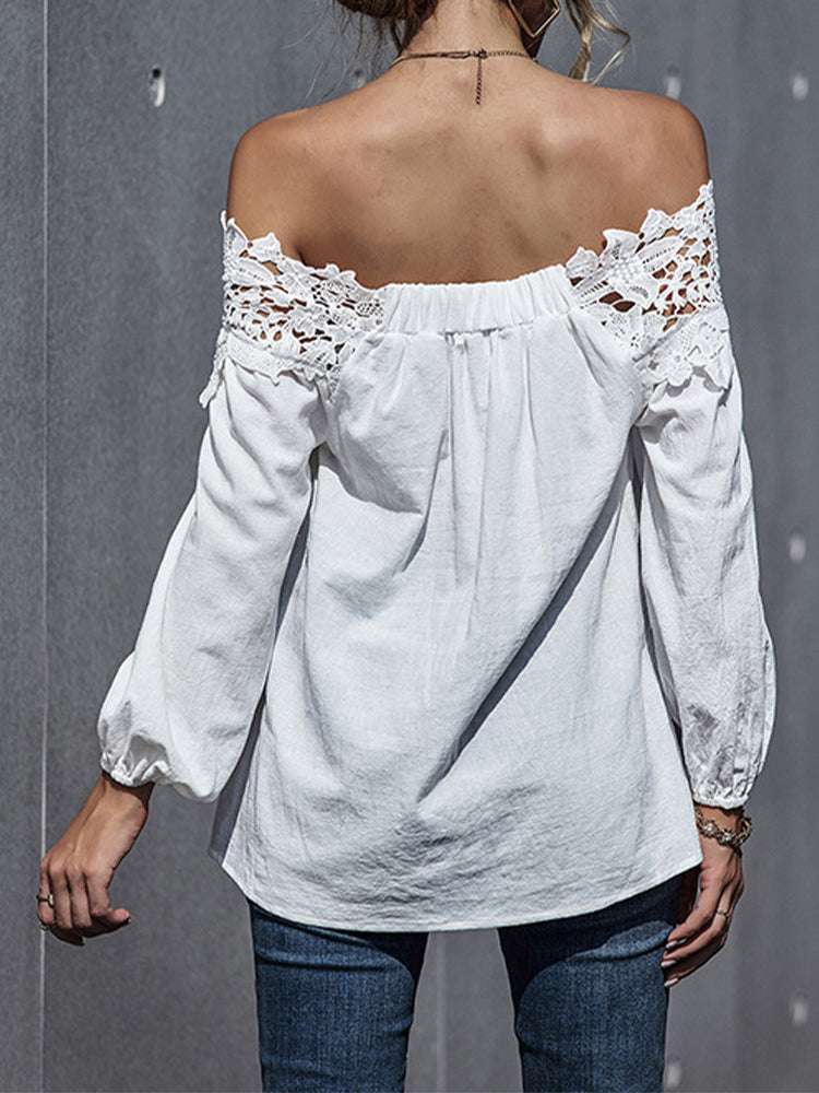 Lace Stitching Sexy One-shoulder Top-Tops>Blouses&Shirts>Solid-Modabae