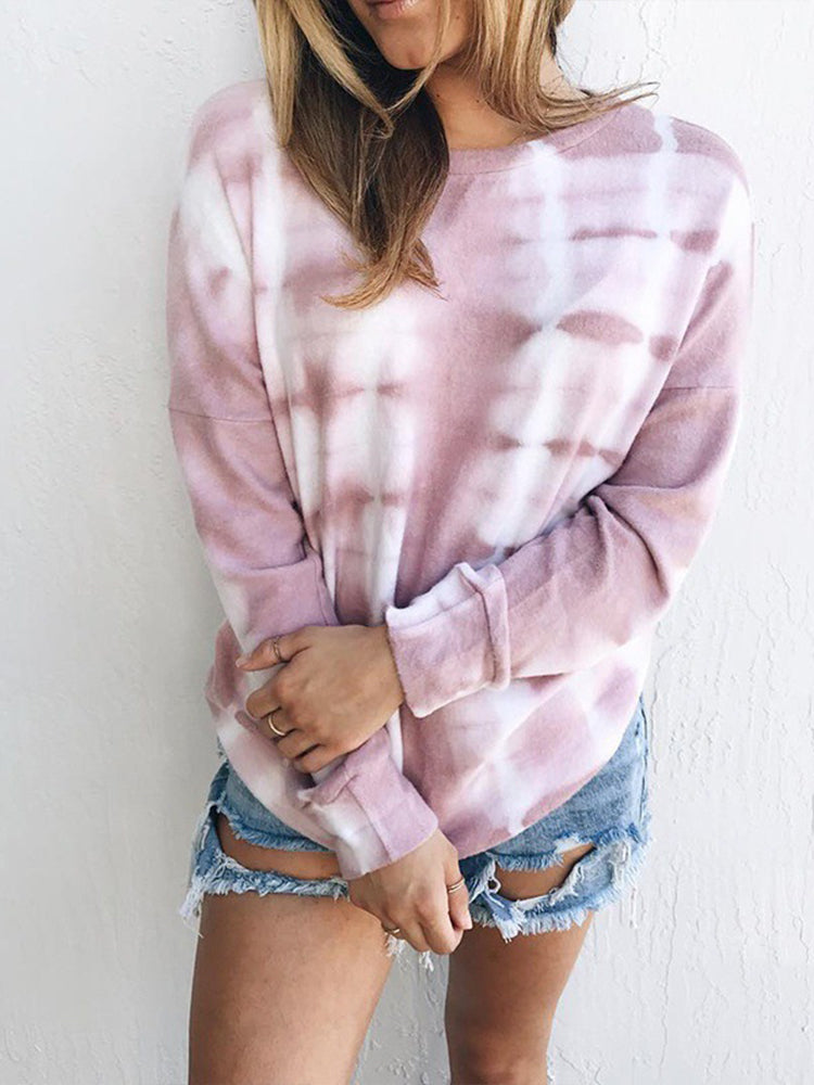 Printed Tie-dye Gradient Round Neck T-shirt-Tops>T-shirts>Casual-Modabae