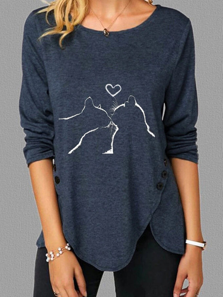 Cat Love Print Long Sleeve Crew Neck T-shirt-Tops>T-shirts>Casual-Modabae
