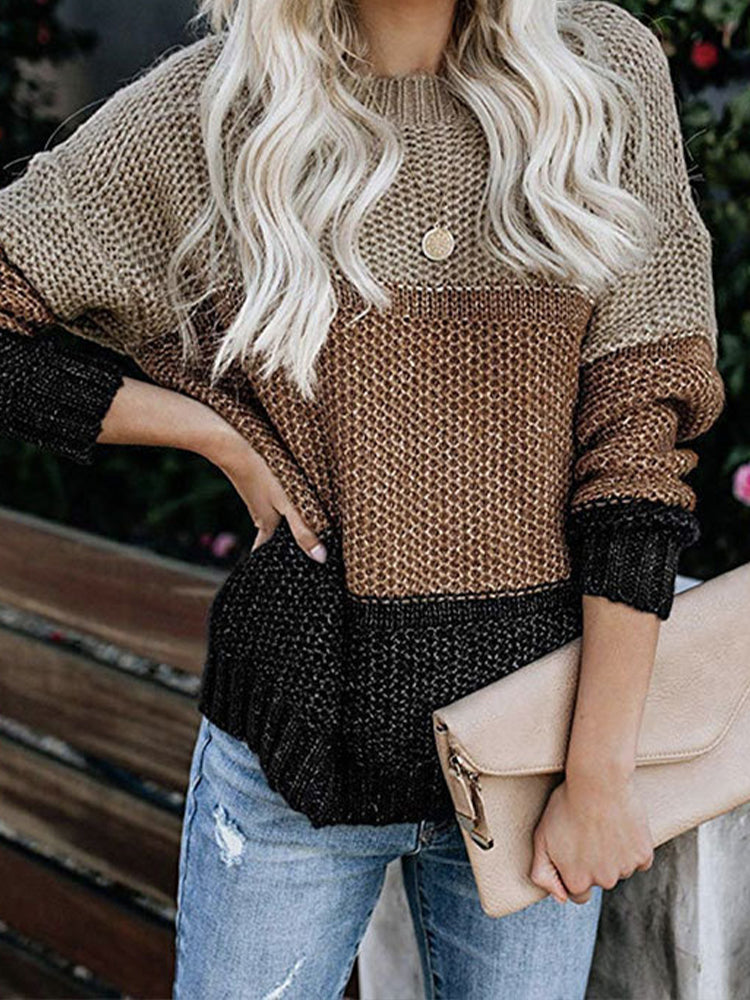 Striped color block pullover sweater-Tops>Sweaters>Casual-Modabae