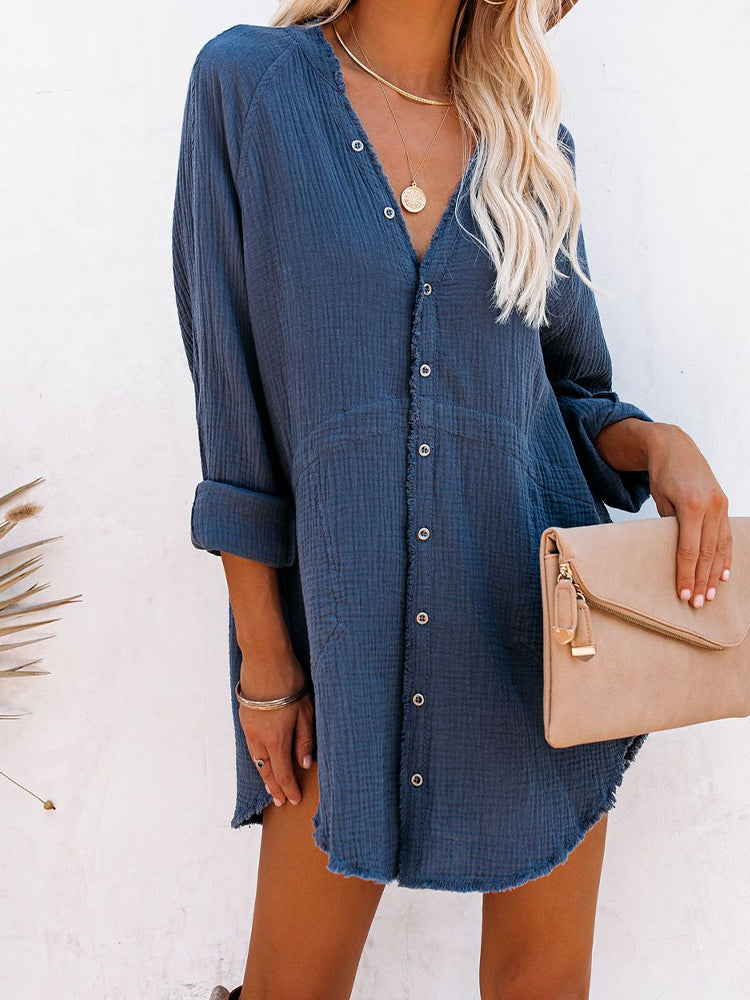 Cotton Blending Pocket Button Down Tunic-DRESSES-Modabae