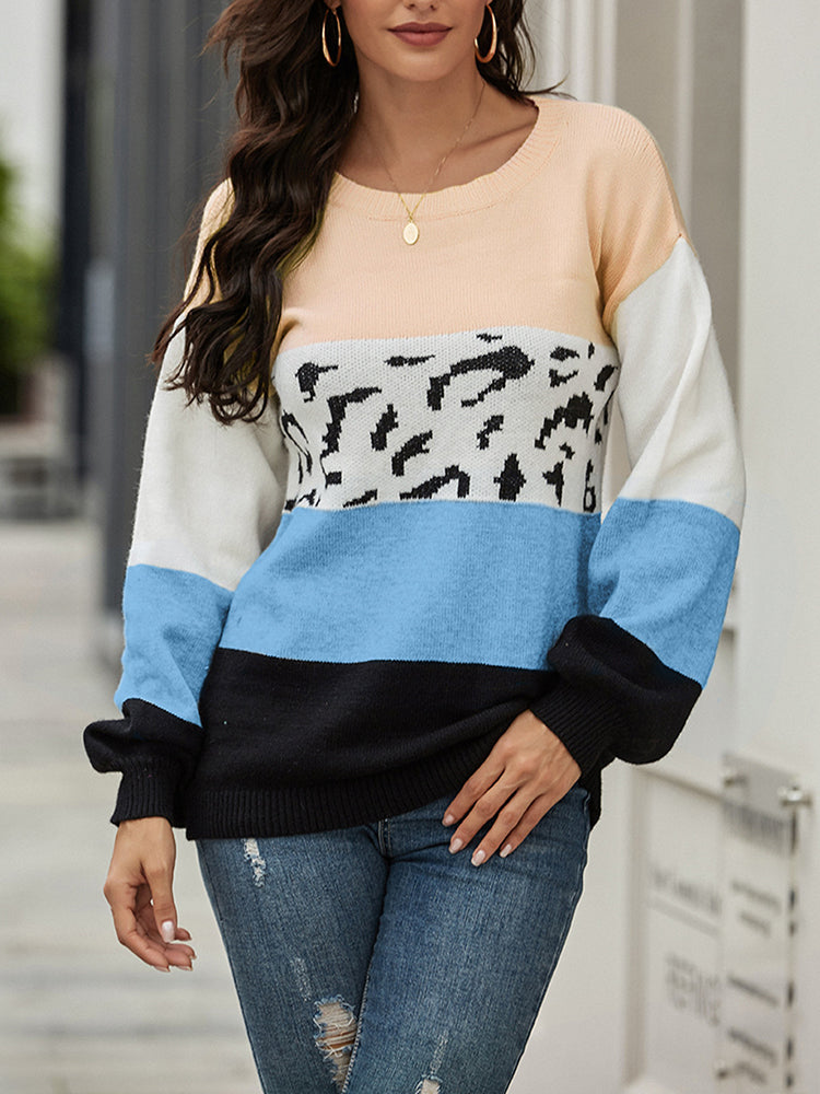 Leopard print stitching loose sweater-Tops>Sweaters>Casual-Modabae