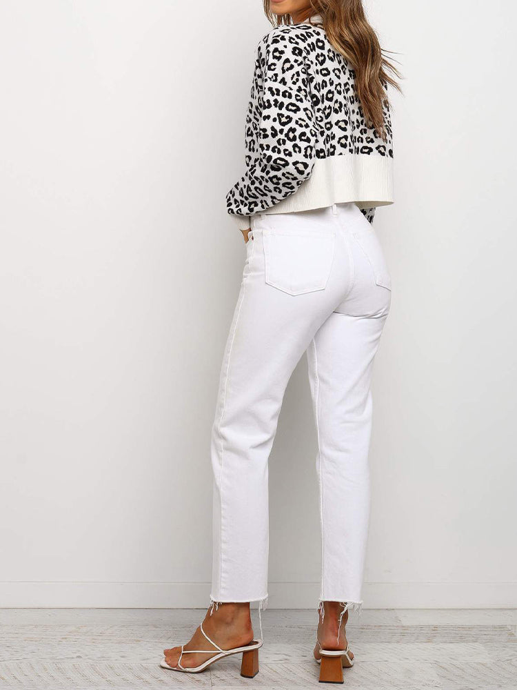 V-neck Leopard Button Sweater Cardigan-Tops>Sweaters>Casual-Modabae