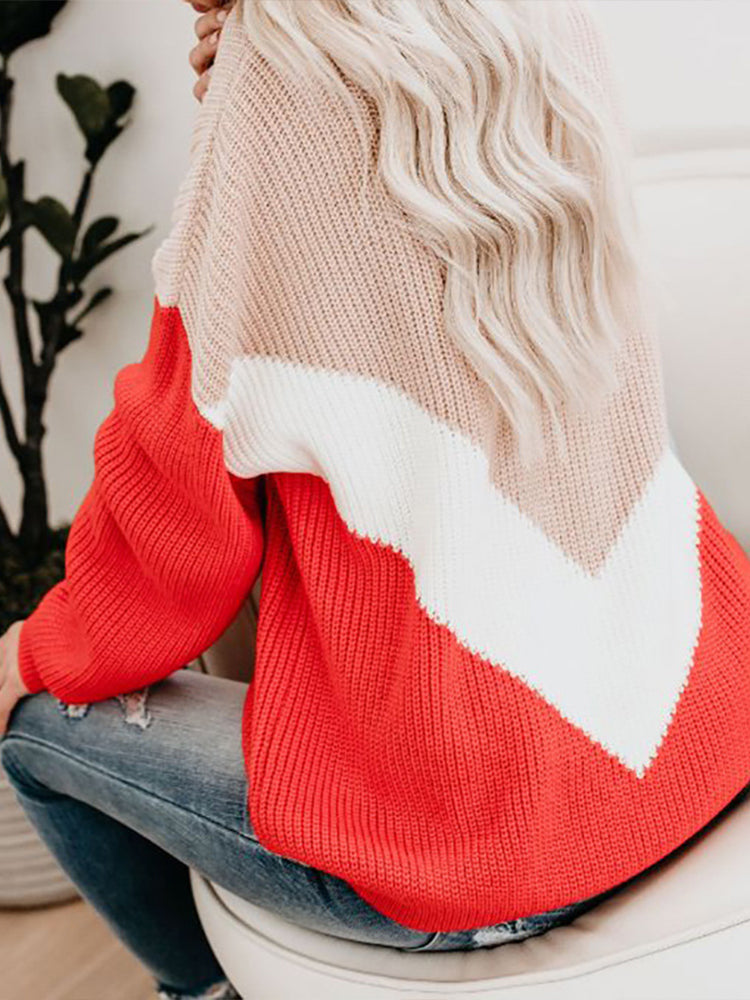 Striped Top Contrast Sweater-Tops>Sweaters>Casual-Modabae