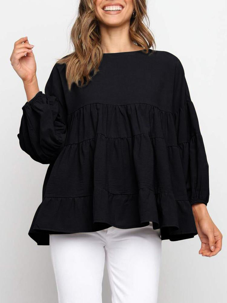 Round Neck Flared Long Sleeve Loose Pleated Top-Tops>Blouses&Shirts>Solid-Modabae