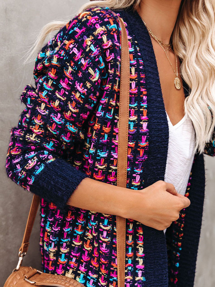 Colorful Knit Cardigan-tops-Modabae