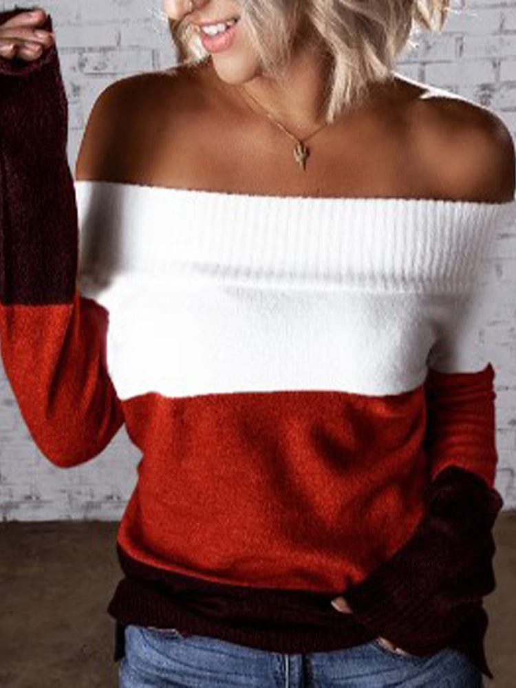 Off Shoulder Sweater-tops-Modabae