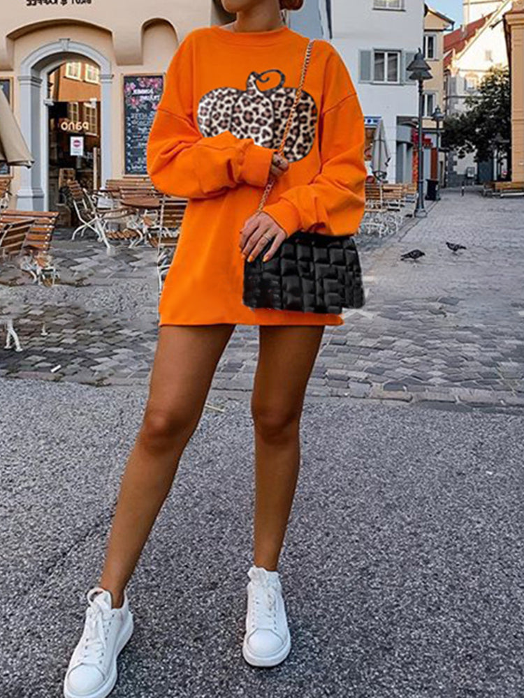 Round Neck Loose Halloween Leopard Print Sweatshirt-Tops>T-shirts>Casual-Modabae