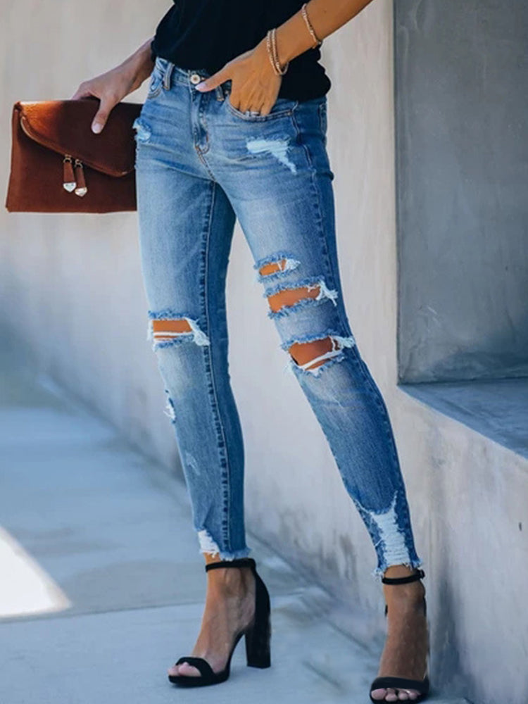 Skinny Jeans With Ripped Feet-Bottoms>Pants>Fashion-Modabae