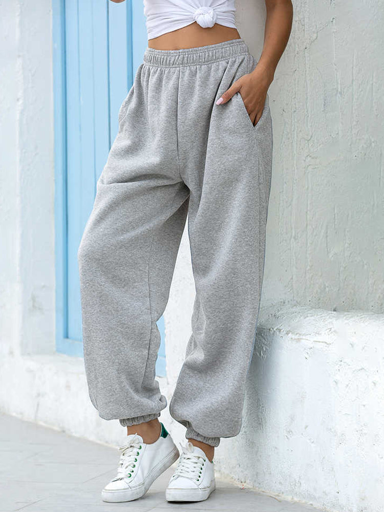 Pure Color Elastic Waist Casual Sports Trousers-Bottoms>Pants>Casual-Modabae