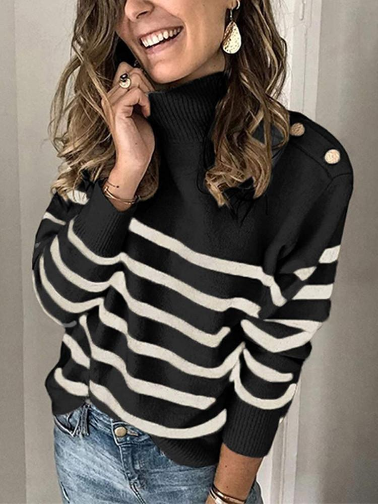 High Neck Striped Shoulder Button Sweater-Sweaters&Cardigans-Modabae