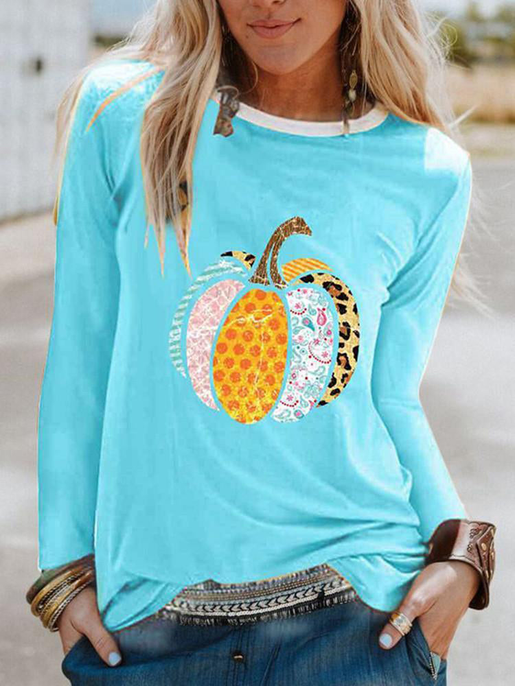 Printed Long Sleeve Round Neck Pullover T-shirt-Tops>T-shirts>Casual-Modabae