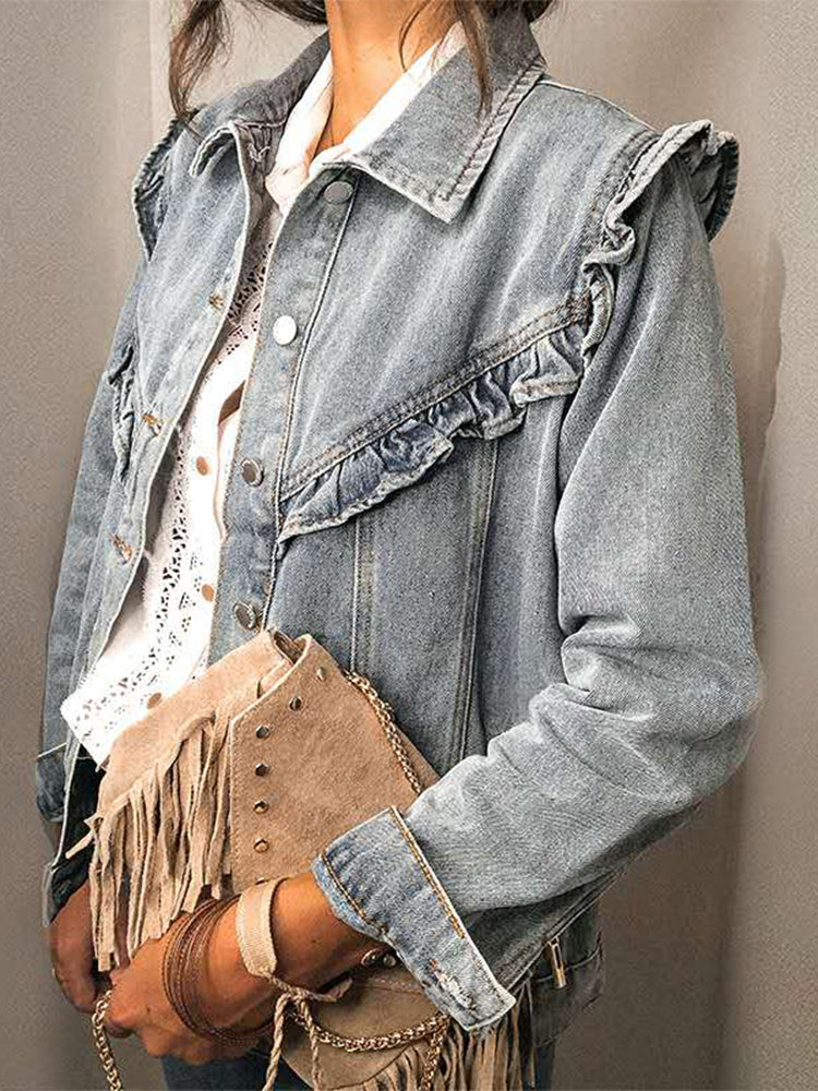 Ruffled Denim Jacket-Outerwear-Modabae