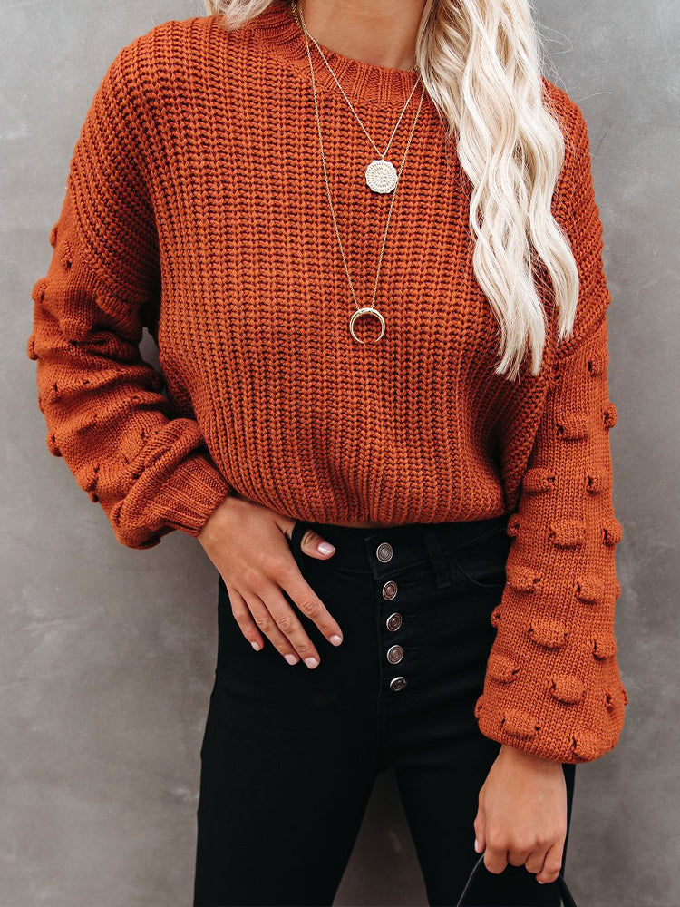 Crochet Hollow Out Lantern Sleeve Sweater-tops-Modabae