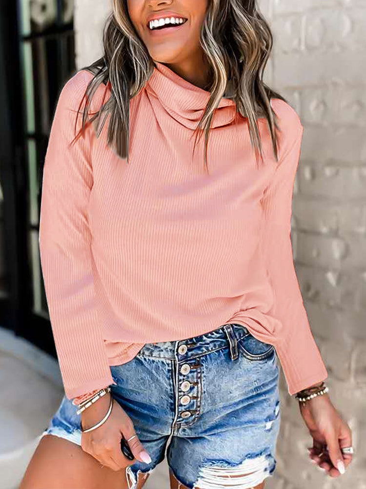 Pile collar Long Sleeve T shirt-Blouses&Shirts-Modabae