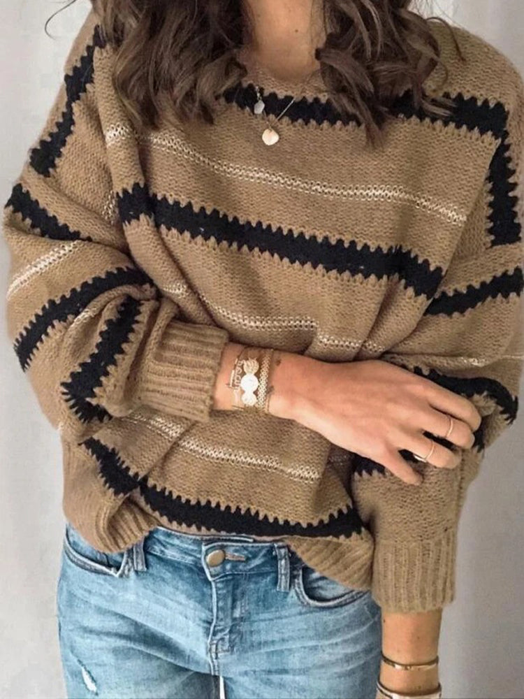 Loose Stitching Personality Pullover Sweater-Tops>Sweaters>Casual-Modabae