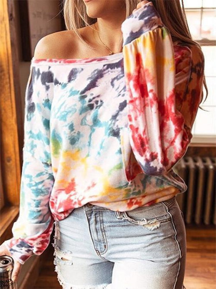 Tie-dye printed loose long-sleeved round neck top-Tops>T-shirts>Casual-Modabae