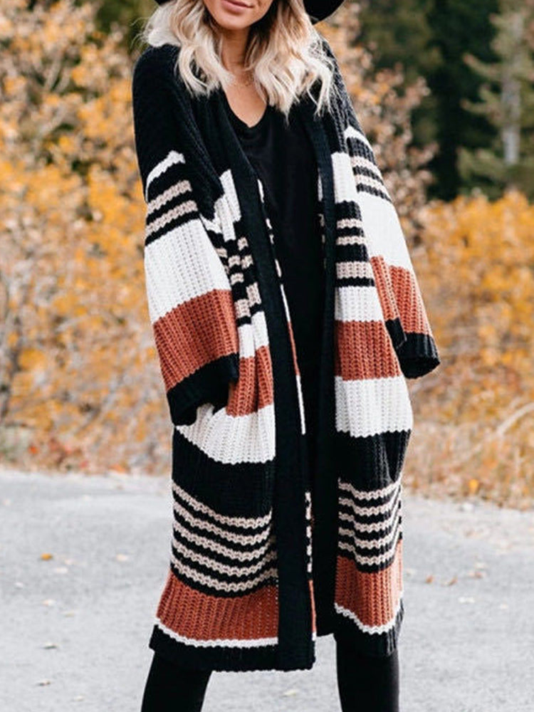 Loose Striped Color Block Sweater Cardigan-Tops>Sweaters>Casual-Modabae