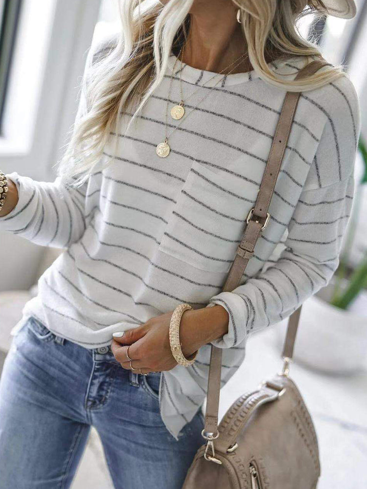 Casual fashion all-match striped t-shirt-Tops>T-shirts>Casual-Modabae