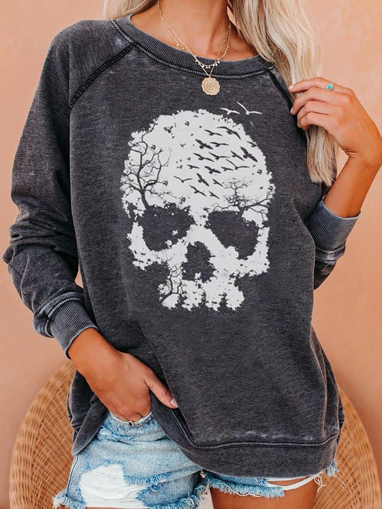 Female Round Neck Skull Wash Sweatshirt-Sweatshirts-Modabae