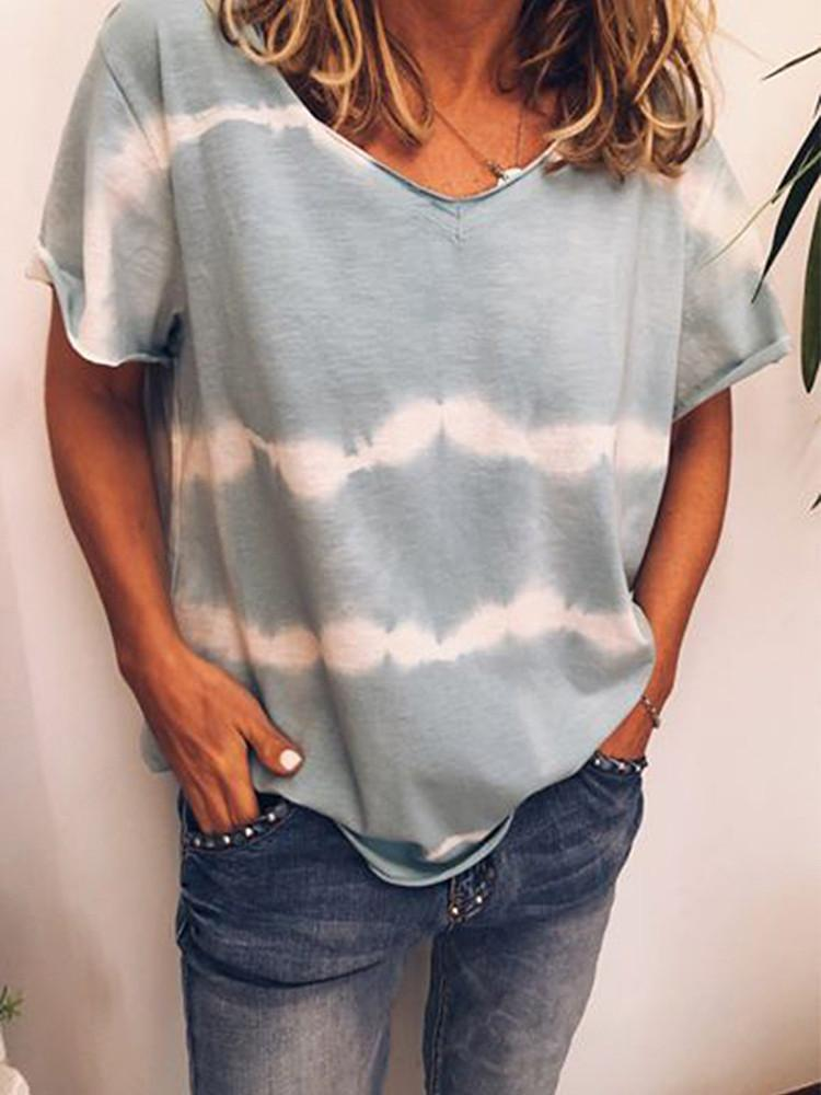 Tie-dye V-neck Casual Plus Size Short Sleeve T-shirt-TOPS-Modabae