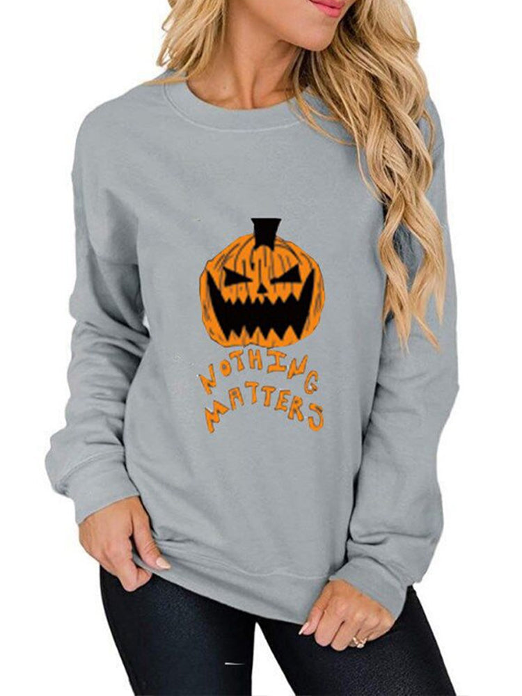 Pumpkin Print Crew Neck Pullover Sweater-Tops>T-shirts>Casual-Modabae