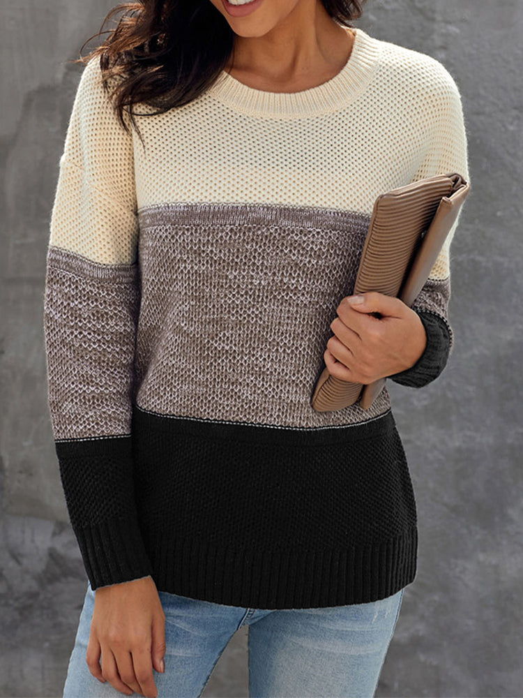 Contrast Stitching Round Neck Pullover Top-Tops>Sweaters>Casual-Modabae