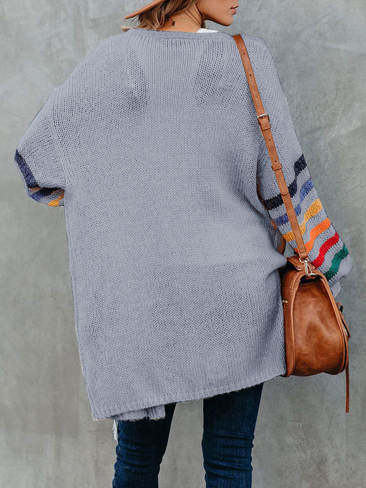 Color Striped Sweater Cardigan-Tops>Coats>Casaul-Modabae