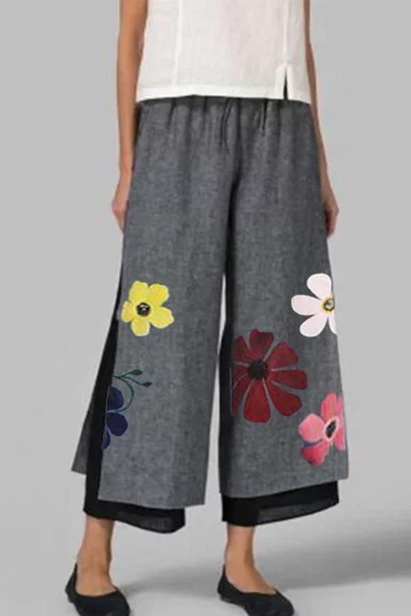 Linen Floral Printed Two Layer Elastic Shift Pants-BOTTOMS-Modabae