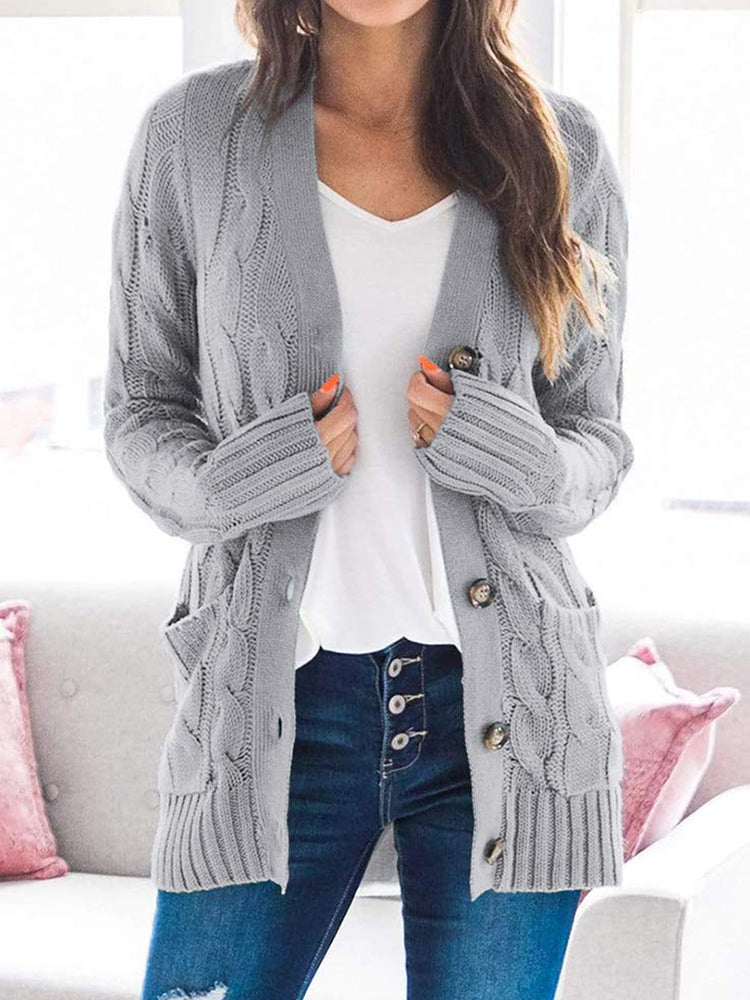 Single-breasted Long-sleeved Sweater Coat-Tops>Sweaters>Casual-Modabae