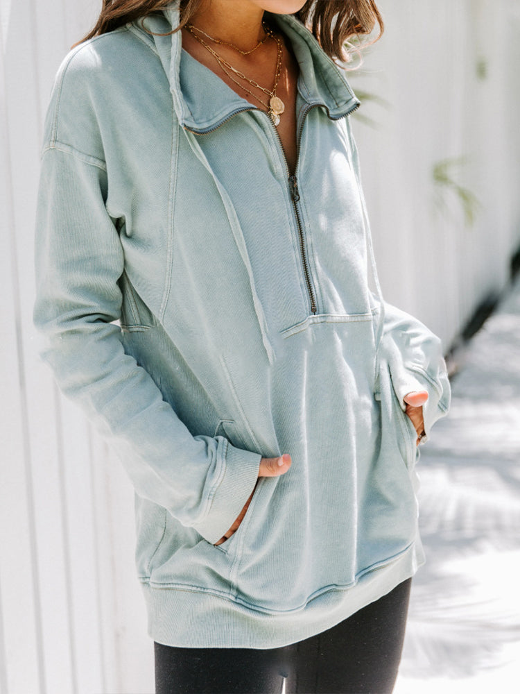 Loose Solid Color All-match High Neck Zipper Sweatshirt-Tops>Hoodie>Casual-Modabae