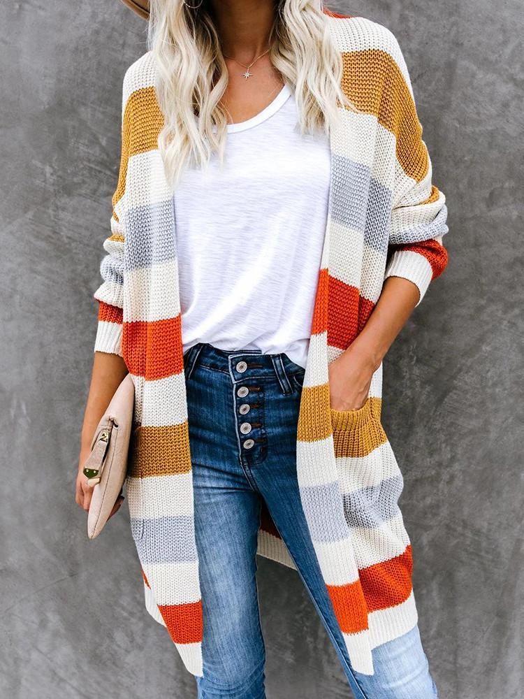 Long Color-Block Pocket striped Cardigan-Cardigans-Modabae