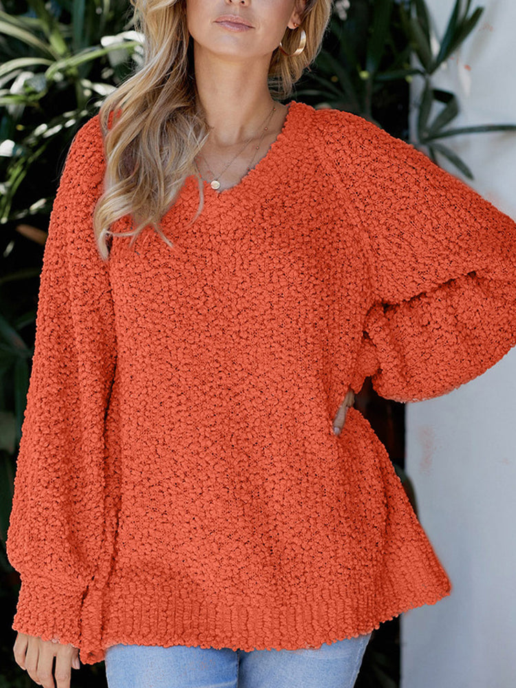 V-neck Loose Solid Color Sweater-Tops>Sweaters>Casual-Modabae