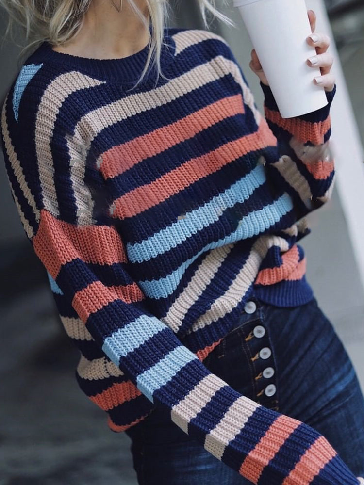 Striped Panel Knit Sweater-Tops>Sweaters>Casual-Modabae